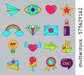 set of stickers  pins  patches... | Shutterstock .eps vector #575629162