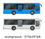 set white  blue city bus... | Shutterstock .eps vector #575629768