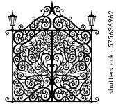 vector heavy floral black gate... | Shutterstock .eps vector #575636962