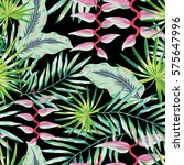 green palm leaves and pink... | Shutterstock .eps vector #575647996