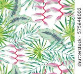 green palm leaves and pink... | Shutterstock .eps vector #575648002