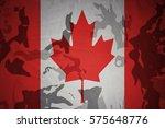 flag of canada on the khaki... | Shutterstock . vector #575648776