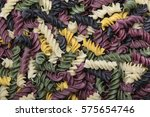 colorful spiral pasta. black ... | Shutterstock . vector #575654746