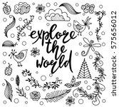 hand drawn themed phrases....   Shutterstock .eps vector #575656012