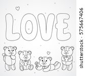 coloring with cute teddy bears... | Shutterstock .eps vector #575667406