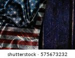 usa flag on a wood surface | Shutterstock . vector #575673232