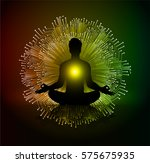 man meditate dark red yellow... | Shutterstock .eps vector #575675935
