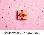 beautiful present box with red... | Shutterstock . vector #575676568
