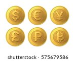 Set Of Golden Coin With Dollar...