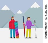 winter sport people. man with a ... | Shutterstock .eps vector #575687506