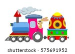happy easter bunny driving a... | Shutterstock .eps vector #575691952