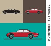 car flat icon set. vector...
