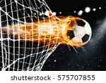 soccer fireball scores a goal... | Shutterstock . vector #575707855