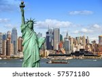 Stock photo new york city cityscape tourism concept photograph statue of liberty over hudson river beautiful 57571180