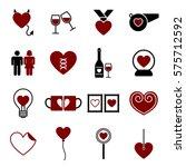 valentine icon set vector...   Shutterstock .eps vector #575712592