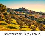 casale marittimo village  olive ... | Shutterstock . vector #575712685