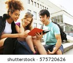 cute group of teenages at the... | Shutterstock . vector #575720626