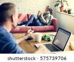 couple wife husband relax... | Shutterstock . vector #575739706