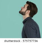 man curious thinking look up...   Shutterstock . vector #575757736
