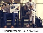 business men break sit read... | Shutterstock . vector #575769862