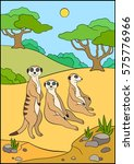 cartoon animals. three meerkats ...