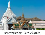 Small photo of Phra Borom Maha Ratcha Wang and Rajakaranya Sapha Hall on sunny day. Grand Palace, Bangkok, Thailand