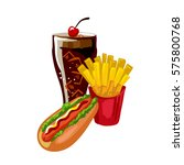 fast food hot dog  french fries ... | Shutterstock .eps vector #575800768
