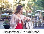 young attractive woman checking ... | Shutterstock . vector #575800966