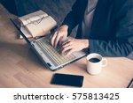 businessman a computer laptop... | Shutterstock . vector #575813425