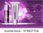 tube and tone skin cream bottle.... | Shutterstock .eps vector #575827726