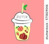 fresh fruits smoothie  detox... | Shutterstock .eps vector #575829046
