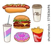 fast food flat collection with... | Shutterstock .eps vector #575836696