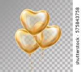 heart gold balloon on... | Shutterstock .eps vector #575843758