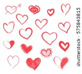 hand drawn hearts. vector set... | Shutterstock .eps vector #575843815