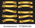 golden ribbon set. | Shutterstock .eps vector #575844136