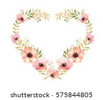 heart bouquet watercolor ... | Shutterstock . vector #575844805