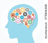 creative brain and gear vector... | Shutterstock .eps vector #575846308