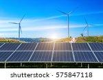 solar panels with wind turbines ... | Shutterstock . vector #575847118