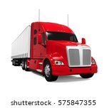 red trailer truck. 3d rendering | Shutterstock . vector #575847355