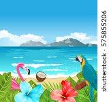illustration exotic wallpaper... | Shutterstock . vector #575855206