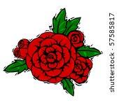 woodcut roses   raster | Shutterstock . vector #57585817