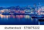 aker brygge in twilight ... | Shutterstock . vector #575875222
