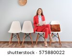 young woman waiting for... | Shutterstock . vector #575880022