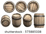 wooden barrel on the white... | Shutterstock . vector #575885338