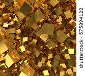 golden cubes background. 3d... | Shutterstock . vector #575894122