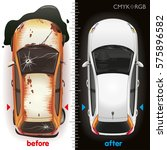 the car before repair and after ... | Shutterstock .eps vector #575896582
