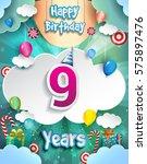 9 Years Birthday Design For...