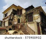 damage after earthquake in nepal | Shutterstock . vector #575900932