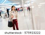 beautiful woman shopping for... | Shutterstock . vector #575923222