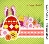 happy easter background with... | Shutterstock .eps vector #575929996